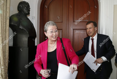 Newly Appointed Chair of the Norwegian Nobel Committee Kaci Kullmann Five (l) and the Secretary of the Committer Olav Njolstad (r) Arrive For a Press Briefing at the Norwegian Nobel Institute in Oslo Norway 03 March 2015 Norway Oslo
