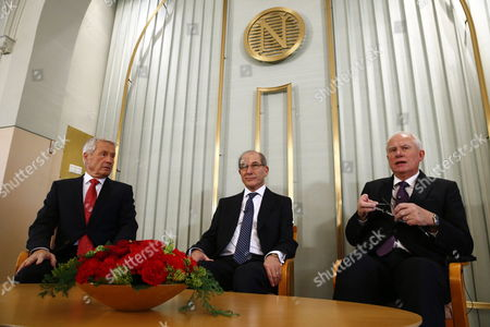 Ahmet Uzumcu (c) Secretary General of the Organization For the Prohibition of Chemical Weapons (opcw) Addresses a Press Conference Alongside the Chairman of the Norwegian Nobel Committee Thorbjorn Jagland (l) and Geir Lundestad Head of the Norwegian Nobel Institute (r) at the Nobel Institute in Oslo Norway 09 December 2013 the 2013 Nobel Peace Prize Will Be Awarded to the Opcw on 10 December 2013 For Its Extensive Efforts to Eliminate Chemical Weapons Norway Oslo