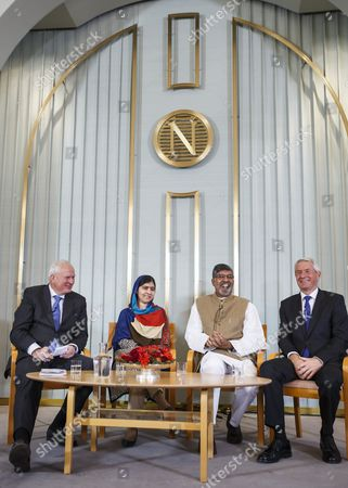 (l-r) Secretary of the Norwegian Nobel Committee Geir Lundestad Nobel Peace Prize Laureates Kailash Satyarthi and Malala Yousafzai and Chair of the Norwegian Nobel Committee Thorbjorn Jagland Attend Press Conference at the Norwegian Nobel Institute in Oslo Norway 09 December 2014 the Nobel Peace Prize Award Ceremony and the Nobel Banquet Will Take Place in Oslo on 10 December Norway Oslo