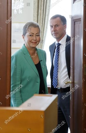 Stock Picture of Kaci Kullmann Five (l) Chairman of the Nobel Peace Prize Award Committee Arrives to Announce the Nobel Peace Prize Laureate 2016 Winner Colombian President Juan Manuel Santos Oslo Norway 07 October 2016 Norway Oslo