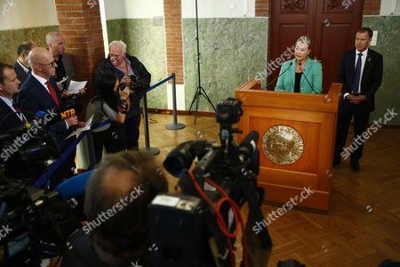 Kaci Kullmann Five (2-r) Chairman of the Nobel Peace Prize Award Committee Announces the Nobel Peace Prize Laureate 2016 Winner Colombian President Juan Manuel Santos Oslo Norway 07 October 2016 Norway Oslo