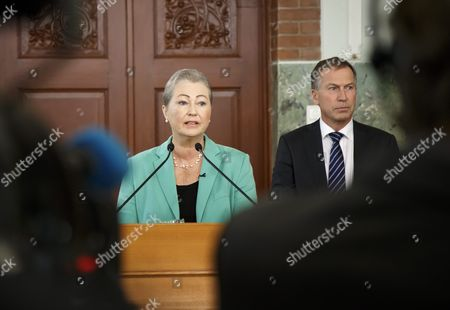 Stock Picture of Kaci Kullmann Five (l) Chairman of the Nobel Peace Prize Award Committee Announces the Nobel Peace Prize Laureate 2016 Winner Colombian President Juan Manuel Santos Oslo Norway 07 October 2016 Norway Oslo