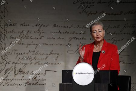 Stock Photo of Leader of the Norwegian Nobel Committee Kaci Kullmann Five Give a Lecture About the Peace Prize Laureate Juan Manuel Santos at the Nobel Peace Center in Oslo Norway 08 October 2016 Norway Oslo