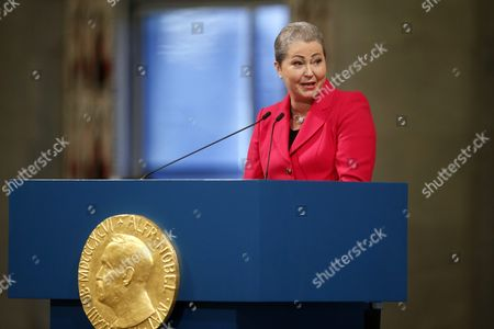 Chair of the Nobel Committee Kaci Kullmann Five Speaks at the Nobel Peace Prize 2015 Award Ceremony in Oslo Norway 10 December 2015 the Tunisian National Dialogue Quartet was Awarded the 2015 Nobel Peace Prize For Its Decisive Contribution to the Building of a Pluralistic Democracy in Tunisia in the Wake of the Jasmine Revolution of 2011 Norway Oslo