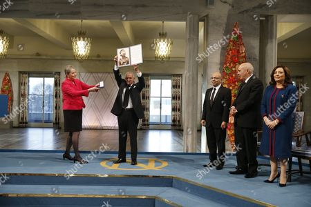 Stock Picture of Chair of the Nobel Committee Kaci Kullmann Five Hands Over the Diploma and Medallion to the Winners of the 2015 Nobel Prize Tunisian National Dialouge Quartet Members (l-r) Secretary General of the Tunisian General Labour Union (ugtt) Houcine Abassi President of the Tunisian Order of Lawyers Mohamed Fadhel Mahfoudh President of the Tunisian Human Rights League Abdessattar Ben Moussa and President of the Tunisian Confederation of Industry Trade and Handicrafts Wided Bouchamaoui at the Nobel Peace Prize 2015 Award Ceremony in Oslo Norway 10 December 2015 the Tunisian National Dialogue Quartet was Awarded the 2015 Nobel Peace Prize For Its Decisive Contribution to the Building of a Pluralistic Democracy in Tunisia in the Wake of the Jasmine Revolution of 2011 Norway Oslo