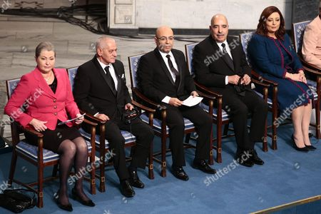 Chair of the Nobel Committee Kaci Kullmann Five (l) Sits with the Winners of the 2015 Nobel Peace Prize Tunisian National Dialouge Quartet Members (l-r) Secretary General of the Tunisian General Labour Union (ugtt) Houcine Abassi President of the Tunisian Order of Lawyers Mohamed Fadhel Mahfoudh President of the Tunisian Human Rights League Abdessattar Ben Moussa and President of the Tunisian Confederation of Industry Trade and Handicrafts Wided Bouchamaoui at the Nobel Peace Prize 2015 Award Ceremony in Oslo Norway 10 December 2015 the Tunisian National Dialogue Quartet was Awarded the 2015 Nobel Peace Prize For Its Decisive Contribution to the Building of a Pluralistic Democracy in Tunisia in the Wake of the Jasmine Revolution of 2011 Norway Oslo