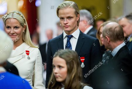 Crown Princess Mette Marit (l) and Her Son Marius Borg Hoiby Attend a Gala Performance in the University Aula in Oslo Norway 17 January 2016 As Part of the 25th Anniversary of Norwegian King Harald V's Ascension to the Throne the Gala Performance Will Be Hosted by Espen Beranek Holm and Lena Kristin Ellingsen and Will Feature the Norwegian Radio Orchestra Playing Christian Eggen Norway Oslo
