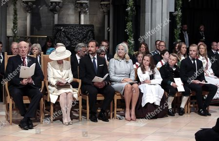 Stock Photo of From (l-r): King Harald Queen Sonja Crown Prince Haakon Crown Princess Mette Marit Princess Ingrid Alexandra Prince Sverre Magnus and Marius Borg Hoiby Attend a Service on the Occasion of the 25th Anniversary of King Harald on the Throne in Trondheim Norway 23 June 2016 Norway Trondheim