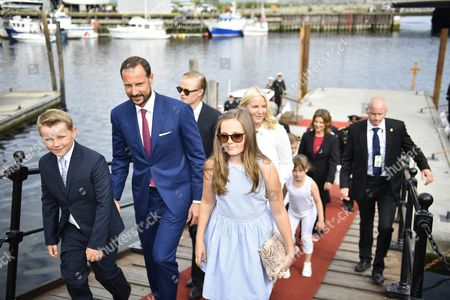 (l-r) Prince Sverre Magnus Crown Prince Haakon Marius Borg Hoiby Princess Ingrid Alexandra and Crown Princess Mette-marit Arrive at the Dock in Trondheim Norway 23 June 2016 Prior a Service Mass at Nidaros Cathedral on the Ocassion of the 25th Anniversary of Norway's King Harald V and Queen Sonja on the Royal Throne Norway Trondheim