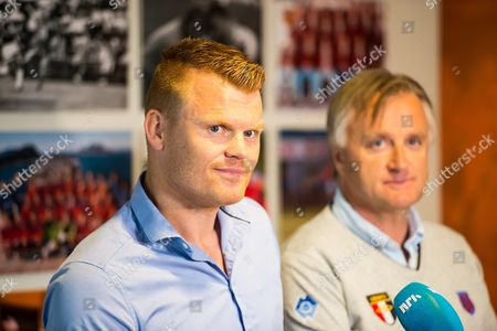 Norwegian Player John Arne Riise (l) and Club Manager of Aalesunds Fk Henrik Hoff at Press Conference in Alesund Norway 13 June 2016 where the Former Liverpool Defender Confirmed That He Retires As Player From Professional Soccer Norway Alesund