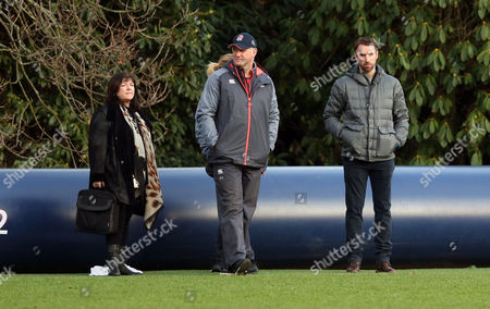 Gareth Southgate (England Football Manager - Right) with Richard Hill (centre) & Lisa Alexander (Head Coach of The Australian National Netball Team) (L) watching England Rugby Union 6 Nations Training.