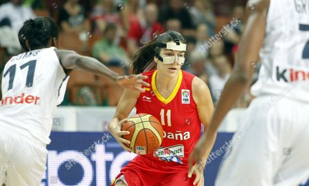 Marta Xargay (c) of Spain Vies For the Ball with Emilie Gomis of France (l) During the European Women Basketball Championship Group F Match in Katowice Poland 22 June 2011 Poland Katowice