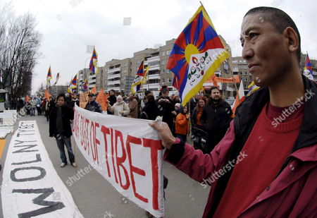 Some 200 People Protested Against Recent Developments in Tibet Occupied For 49 Year by China in Front of the Chinese Embassy in Warsaw on Sunday 16 March 2008 Among Protesters Were Deputy Senate Speaker Zbigniew Romaszewski (law and Justice - Pis) Civic Platform (po) Mp Andrzej Halicki European Parliament's Foreign Affairs Committee Head Janusz Onyszkiewicz Poland Warsaw