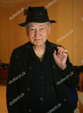 Lithuanian Film Director Jonas Mekas an Icon of American Avant-garde Cinema at the Press Conference Accompanying the Krakow Film Festival in Cracow Poland on 01 June 2010 Mekas is the 2010 Winner of the Festival's Dragon of Dragons Award For Artistic Life Achievement Poland Cracow