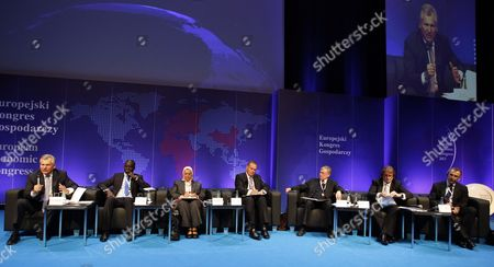 Stock Picture of (l-r) Former President of Poland Aleksander Kwasniewski Senegalese Minister of Commerce Industry and Informal Sector El Hadji Malick Gakou Commissioner of Infrastructure and Energy of African Union Commission Dr Elham Mahmoud Ahmed Ibrahim Nato Former Supreme Allied Commander Europe General James L Jones Former German President Horst Koehler Businessman Jan Kulczyk and Eu Commissioner For Development Andris Piebalgs Attend the 'Go Global! World Europe Africa Time For New Deal' Panel at the 5th European Economic Congress in Katowice Poland 13 May 2013 the Congress is the Single Most Important Economic Event Held in Central Europe and Runs From 13 to 15 May Poland Katowice