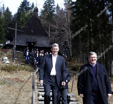 Poland's and Latvian Presidents Bronislaw Komorowski (r) and Valdis Zatlers (l) After Visitig a Historic Church in Istebna Poland on 15 March 2011 As a Part of Their Working Meeting Poland Istebna