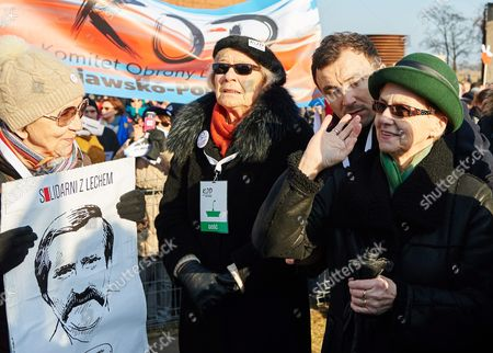Lech Walesa's Wife Danuta Walesa (r) is Seen During a Rally in Support of Her Husband in Gdansk Poland 28 February 2016 the Event was Held in Support of First Leader of Solidarity Movement and Former Polish President Lech Walesa who was Recently Accused of Being Communist-era Secret Informer Codenamed 'Bolek' Poland Gdansk