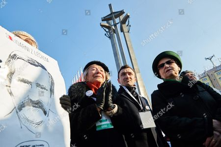 Stock Image of Lech Walesa's Wife Danuta Walesa (r) is Seen During a Rally in Support of Her Husband in Gdansk Poland 28 February 2016 the Event was Held in Support of First Leader of Solidarity Movement and Former Polish President Lech Walesa who was Recently Accused of Being Communist-era Secret Informer Codenamed 'Bolek' Poland Gdansk