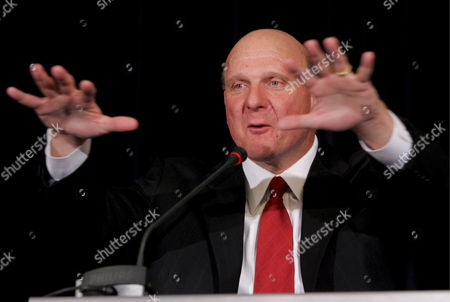 Ceo of Microsoft Corporation Steven Anthony Ballmer Gestures During a Joint Press Conference with Polish Deputy Prime Minister Waldemar Pawlak (unseen) After Their Meeting in Warsaw Poland on 23 April 2009 Poland Warsaw