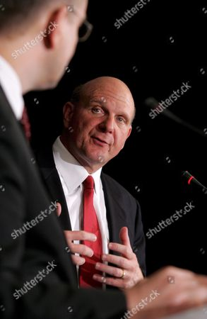 Polish Deputy Prime Minister Waldemar Pawlak (l) and Ceo of Microsoft Corporation Steven Anthony Ballmer (r) During a Joint Press Conference After the Meeting in Warsaw Poland on 23 April 2009 Poland Warsaw