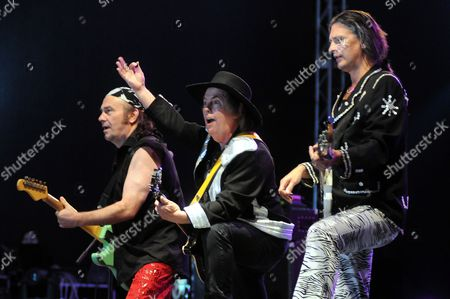 (l-r) Mal Mcnulty Dave Hill and John Berry of British Rock Band Slade Perform at the Rocks Legends Festival in Strzelinko Near Ustka in North Poland 25 July 2009 Poland Strzelinko