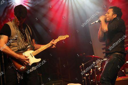 Andy Mitchell (r) Lead Singer and Chris Dreja (l) of the English Rock Band the Yardbirds Perform on Stage During Suwalki Blues Festival 2012 in Suwalki Poland 14 July 2012 Poland Suwalki
