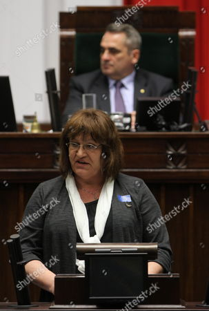 Member of Palikot Movement Anna Grodzka Delivers a Speech During a Debate After the Pm's Report on the Eu Future Presented in Sejm (lower House of Poland's Parliament) in Warsaw Poland 15 December 2011 Poland Warsaw