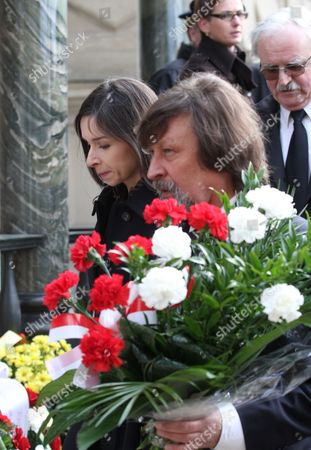 The Late Polish President Lech Kaczynski's Daughter Marta Kaczynska-dubieniecka (l) and His Cousin Jan Maria Tomaszewski (r) on Their Way to the Crypt of Cracow's Wawel Cathedral As the Country Marks the First Anniversary of Kaczynski Plane Crash Poland 10 April 2011 Polish President Lech Kaczynski His Wife Maria Kaczynska and 94 Other Poles Died 10 April 2010 when Polish Presidential Plane Crashed While Trying to Land in Smolensk Russia Poland Cracow
