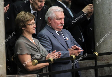 Former Polish President and Noble Peace Prize Winner Lech Walesa (r) and His Wife Danuta (l) As Well As Former Parliamentary Speaker Wieslaw Chrzanowski (c) Attending the Ceremony of Bronislaw Komorowski's Swearing in Office As the New Polish President in Front of Poland's National Assembly a Joint Gathering of Sejm and Senate in Warsaw Poland on 06 August 2010 Bronislaw Komorowski Pledged to Unite Poland After Being Sworn in As the Countrys New President Succeeding Lech Kaczynski who Died in a Plane Crash in Russia in April Poland Warsaw