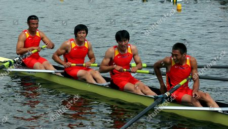 Xingbo Zhang Linqan Zhao Kang Guo Kai Song of China After Placing Second During Men's Coxless Four Final Race at the Rowing Qualification Regatta to the Olympic Games in Poznan 18 June 2008 Poland Poznan