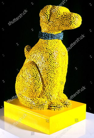 'Yellowdog' a life-size sculpture  made entirely from crayons