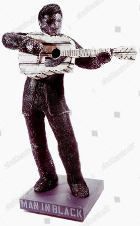 'Man In Black' Johnny Cash a life-size sculpture  made entirely from crayons