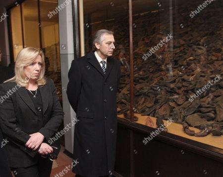 Slovak Prime Minister Iveta Radicova (l) and Slovak Minister of Justice Jan Figel (r) Visits the Former Nazi-german Concentration Camp Kl Auschwitz in Oswiecim Poland 23 March 2012 Poland Oswiecim