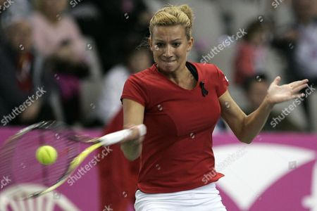 Marta Domachowska of Poland Returns the Ball to Spaniard Maria-jose Martinez-sanchez During the Singles Match For the Fed Cup World Group Ii in Sopot Poland 24 April 2010 Poland Sopot