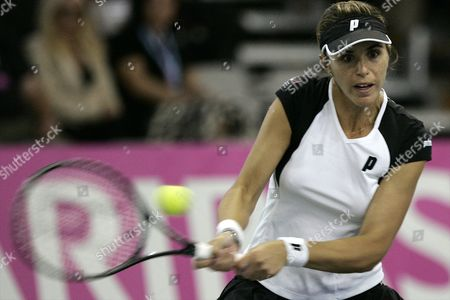 Spaniard Maria-jose Martinez-sanchez Returns the Ball to Marta Domachowska of Poland During the Singles Match For the Fed Cup World Group Ii in Sopot Poland 24 April 2010 Poland Sopot