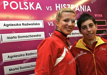 Spanish Player Carla Suarez (r) and Poland's Marta Domachowska (l) Pictured During the Drawing For the Federation Cup World Group Ii Game in Sopot Poland Friday 23 April 2010 Poland Plays Againt Spain in Sopot on 24-25 April 2010 Poland Sopot