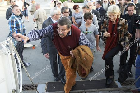 Celebrated Nobel Prize-winning German Author Gunter Grass Arrives For the Premiere of the Spectacle 'Crabwalk' by Gunter Grass and Directed by Polands Pawel Huelle on Board the Polish Sailing Frigate the Dar Pomorza in Gdynia Poland 29 June 2012 Poland Gdynia