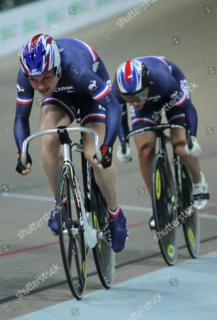 (l-r) Sandie Clair and Clara Sanchez of France Compete in the Women's Team Sprint Final During the European Elite Track Cycling Championships 2010 at the Bgz Arena Velodrome in Pruszkow Poland 05 November 2010 the French Team Won the Gold Medal Poland Warsaw