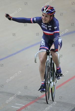 Sandie Clair of France Celebrates After Winning the Gold Medal in the Women's Sprint Final During the European Elite Track Cycling Championships 2010 at the Bgz Arena Velodrome in Pruszkow Poland 06 November 2010 Poland Warsaw