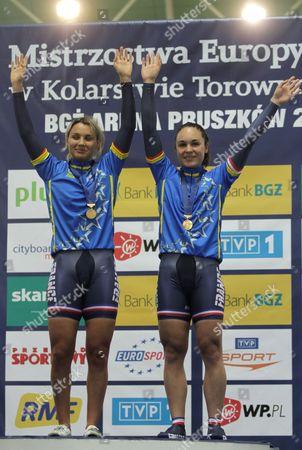 (l-r) Sandie Clair and Clara Sanchez of France on the Podium After Winning the Women's Team Sprint Final at the European Elite Track Cycling Championships 2010 at Bgz Arena Velodrome in Pruszkow Poland 05 November 2010 Poland Warsaw