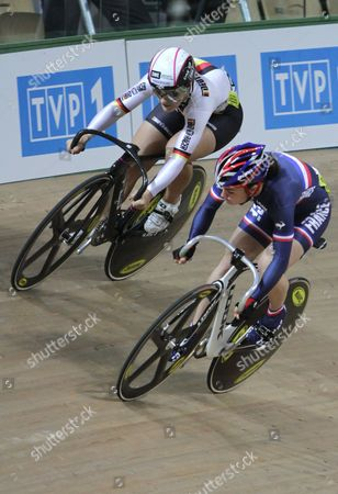 Sandie Clair (r) of France and Kristina Vogel (l) of Germany Compete in the Women's Sprint Final During the European Elite Track Cycling Championships 2010 at the Bgz Arena Velodrome in Pruszkow Poland 06 November 2010 Poland Warsaw