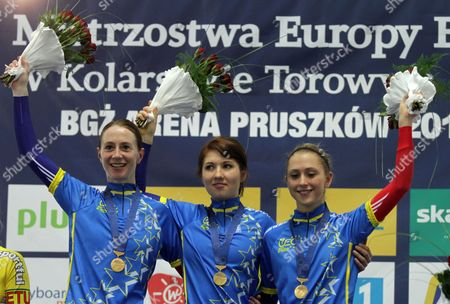 Katie Colclough Wendy Houvenaghel Laura Trott of Great Britain on the Podium After Winning Gold in the Women's Team Pursuit Final at the European Elite Track Cycling Championships 2010 at Bgz Arena Velodrome in Pruszkow Poland 05 November 2010 Poland Warsaw