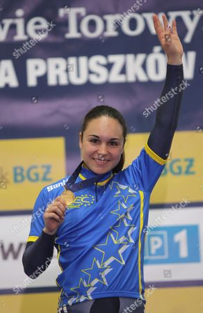 Sandie Clair of France on the Podium After Winning the Women's Sprint Final at the European Elite Track Cycling Championships 2010 at Bgz Arena Velodrome in Pruszkow Poland 06 November 2010 Poland Warsaw