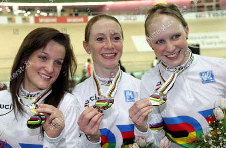 Elizabeth Armistead Wendy Houvenaghel and Joanna Roswell of Great Britain Show Gold Medals After the Women's Team Pursuit Final at the Uci Track Cycling World Championships 2009 at Bgz Arena Velodrome in Pruszkow Poland 26 March 2009 Poland Pruszkow