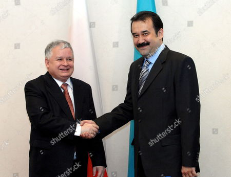 Polish President Lech Kaczynski (l) and Prime Minister of Kazakhstan Karim Masimov (r) Shake Hands During Their Meeting in Astana on Thursday 29 March 2007 President Kaczynski is on an Official Visit to Kazakhstan Kazakhstan Astana