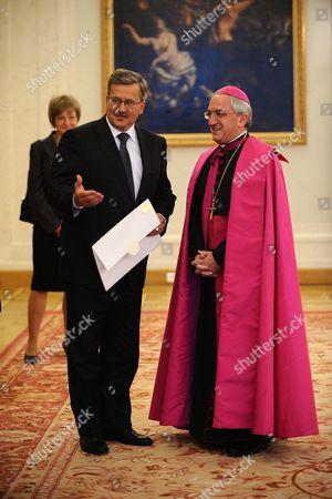 Archbishop Celestino Migliore (r) New Apostolic Nuncio to Poland Submits His Credentials to Polish President Bronislaw Komorowski (l) During a Ceremony in Warsaw Poland 15 September 2010 Poland Warsaw