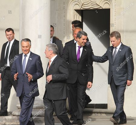 President of Germany Joachim Gauck (3-l) Bulgarian President Rosen Asenov Plevneliev (2-r) President of Portugal Anibal Cavaco Silva (2-l) and President of Finland Sauli Vainamo Niinisto (r) Attend to a First Plenary Session of the Arraiolos Group Meeting at the Wawel Royal Castle in Cracow Poland 08 October 2013 on a First Day of the Arraiolos Group Meeting the Presidents Will Discuss Ways to Overcome the European Crisis and Transatlantic Relations Poland Cracow