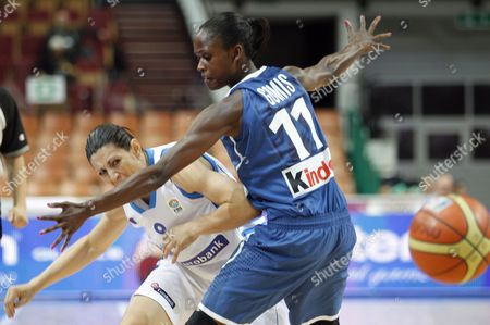Evanthia Maltsi (l) of Greece Vies For the Ball with Emilie Gomis of France During the European Women Basketball Championship Group C Match in Katowice Poland 20 June 2011 Poland Katowice