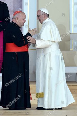 Pope Francis (r) Greets Metropolitan of Krakow Cardinal Stanislaw Dziwisz (l) During a Welcome Ceremony at the Blonia Park During the World Youth Day in Krakow Poland 28 July 2016 the World Youth Day 2016 is Held in Krakow and Nearby Brzegi From 26 to 31 July Poland Krakow