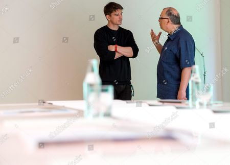Polish Director Lech Majewski (r) and Us Actor Josh Hartnett (l) Talk on a Set of the New Fantasy-science Fiction Project 'Valley of the Gods' at the Silesia Museum in Katowice Poland 30 May 2016 John Malkovich Berenice Marlohe Keir Dullea Josh Hartnett and Charlotte Rampling Will Star in Majewskis Film Which Will Open in Polish Cinemas in 2017 Poland Katowice